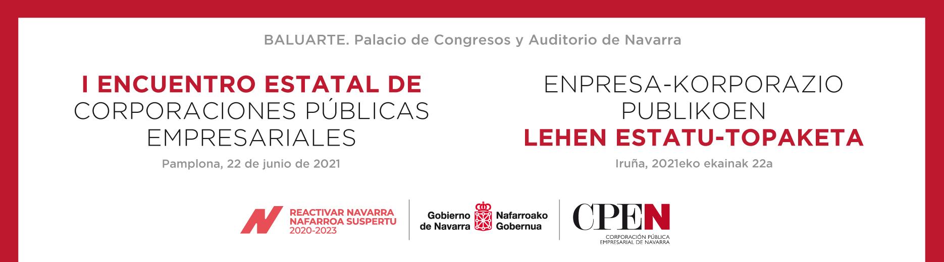 Imagen compuesta por texto, donde figuran el nombre del encuentro, localización y logotipos de CPEN, Gobierno de Navarra y Plan Reactivar Navarra.